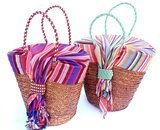 Kikoy and straw basket
